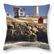 Nubble Lighthouse 3 Throw Pillow by Joann Vitali