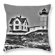 Nubble Lighthouse Cape Neddick Maine Throw Pillow by Glenn Gordon