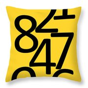 Numbers In Black And Yellow Throw Pillow