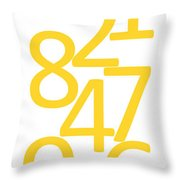Numbers In Yellow Throw Pillow