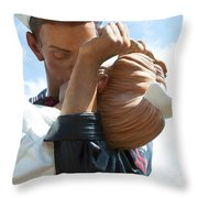 Nurse And Sailor Kissing Statue Unconditional Surrender Closeup  Throw Pillow