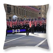 Nyc Fire Department Honoring The 343 Lost Comrades Of 911 With 343 American Flags Throw Pillow