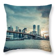 Nyc Skyline In The Sunset V1 Throw Pillow
