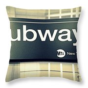 Nyc Subway Sign Throw Pillow