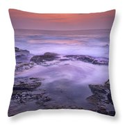 Ocean And Lava Rocks At Sunset Puuhonua Throw Pillow