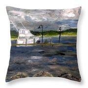 Ocean Inlet Marina Throw Pillow