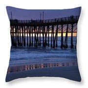 Oceanside Pier Sunset Throw Pillow