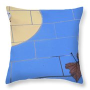 Off-season Swimming Pool Close-up With Leaf Throw Pillow