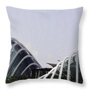 Oil Painting - Both Of The Conservatories Of The Gardens By The Bay In Singapore Throw Pillow