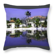 Oil Painting - Cottages And Lagoon Water In Alleppey Throw Pillow