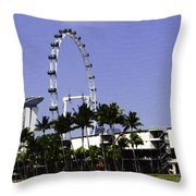 Oil Painting - Preparation Of Formula One Race With Singapore Flyer And Marina Bay Sands Throw Pillow