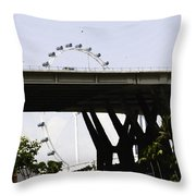 Oil Painting - Span Of The Benjamin Sheares Bridge With Its Pillars In Singapor Throw Pillow
