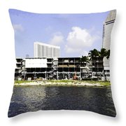 Oil Painting - View Of The Preparation For The Formula One Race In Singapore Throw Pillow