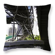 Oil Painting - View Under The Bayfront Bridge And Helix Bridge In Singapore Throw Pillow