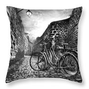 Old Bicycles On A Sunday Morning Throw Pillow