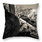 Old Black Locomotive Engine Details Throw Pillow