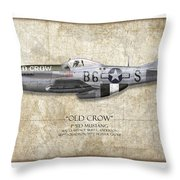 Old Crow P-51 Mustang - Map Background Throw Pillow