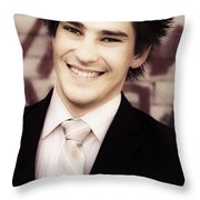 Old Fashion Business Service With A Smile Throw Pillow
