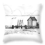 Old Fishermans Wharf Throw Pillow