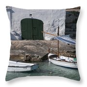 Typical Mediterranean Fishermen Boat And House In Minorca Island - Old Fishermen Villa Throw Pillow