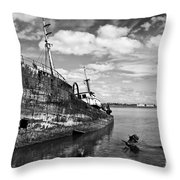 Old Fishing Ship Wreck Throw Pillow