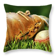 Old Glove And Baseball Throw Pillow