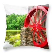 Old Grist Mill Vermont Red Water Wheel Throw Pillow
