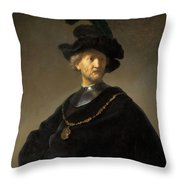 Old Man With A Gold Chain Throw Pillow