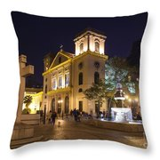 Old Portuguese Colonial Church In Macau Macao China Throw Pillow