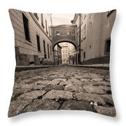 Old Street In Prague Throw Pillow
