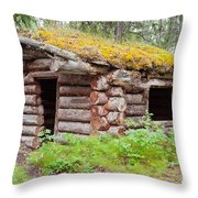 Old Traditional Log Cabin Rotting In Yukon Taiga Throw Pillow