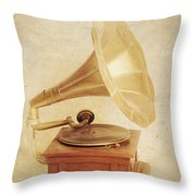 Old Vintage Gold Gramophone Photo. Classical Sound Throw Pillow
