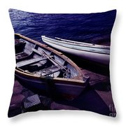 Old Wooden Boats At Night Throw Pillow