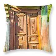 Old Wooden Door Throw Pillow
