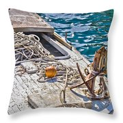 Old Wooden Fishing Boat Detail Throw Pillow