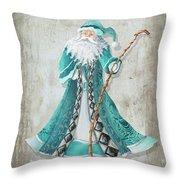 Old World Style Turquoise Aqua Teal Santa Claus Christmas Art By Megan Duncanson Throw Pillow