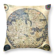 Old World Vintage Map Throw Pillow