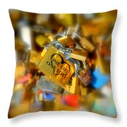 One Life One Love Padlock Throw Pillow