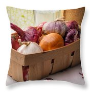 Onions And Garlic In A Crate Throw Pillow
