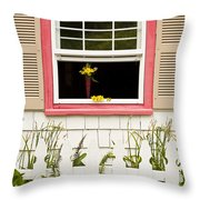 Open Window With Yellow Flower In Vase Throw Pillow