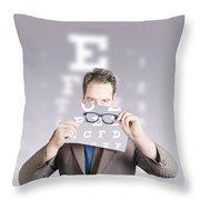 Optometrist Or Vision Doctor Holding Eye Glasses Throw Pillow