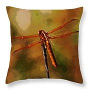 Orange Dragonfly Throw Pillow