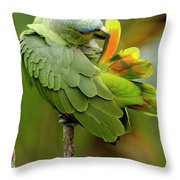 Orange-winged Parrot Amazona Amazonica Throw Pillow