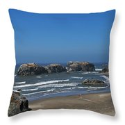 Oregon Beach And Rocks Throw Pillow