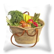 Organic Fruit And Vegetables In Shopping Bag Throw Pillow