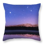 Orion Over Lake Annette Throw Pillow