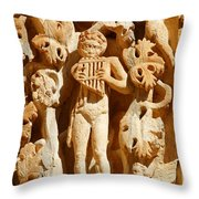 Ornately Sculpted Pillar At Leptis Magna In Libya Throw Pillow