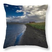 Osar Beach Iceland Throw Pillow