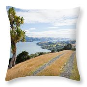 Otago Peninsula Coastal Landscape Dunedin Nz Throw Pillow