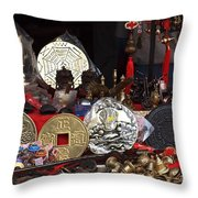 Outdoor Shop Sells Fake Chinese Antiques Throw Pillow by Yali Shi